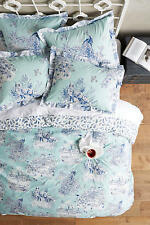 NWT ANTHROPOLOGIE BLUE WILLOWHERB QUEEN DUVET COVER + 2 EURO SHAMS *BRAND NEW*