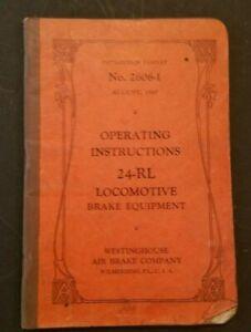 OPERATING INSTRUCTIONS 24-RL LOCOMOTIVE BRAKE EQUIPMENT westinghouse  1947