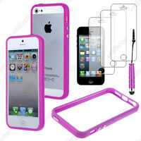 Housse Coque Etui Bumper Violet Apple iPhone SE 5S 5+Mini Stylet+3 Film écran