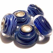 Lot of 5 European Charm Beads Single Core Lamp-work Blue & White Z32