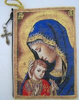 Needzo PLC Gold Rosary Pouch 2 Sided Zippered Icon Cloth Case Madonna & Child