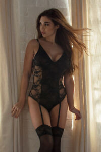 Perfect4U Black Lace Body Bodysuit Teddy with Suspenders Sizes 12,14,16,18,20