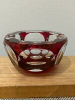 Baccarat France Signed French Crystal Glass Cranberry / Ruby & Clear Ashtray