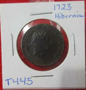 1723 Wood's Hibernia Halfpenny  Circulated VF+                           #T445