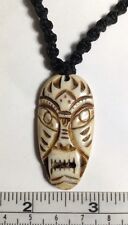 "Hand Carved from Real Bone, Tribal Mask Design Pendant on macrame 20"" Necklace."