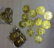 Pack of 12 Pirate Coins Plastic Repro Fancy Dress Play Pirates Money Gold Pieces