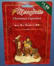 Merrybrite Christmas Village Figurine Sitting Man with Duck New