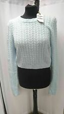 LADIES BLONDE & BLONDE  BLUE CROP CABLE JUMPER UK 16