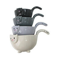 Stacking Cat Measuring Cups Colorful Glazed Ceramic Set Of
