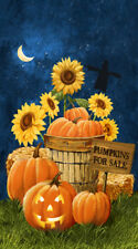 Pumpkins for Sale~NORTHCOTT FABRIC PANEL~HALLOWEEN~24 by 44~21668-49~sunflowers