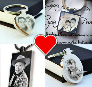 Personalised St. Steel Keyring Photo Engraved FREE P&P   Christmas Gift