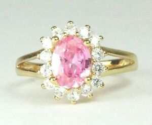 Women's Gold plated Pink Crystal Ring UK Size R
