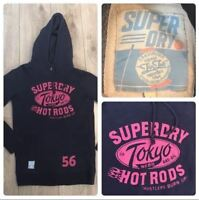 Women's Superdry Hoodie UK Size Small Blue Tokyo Hotrods