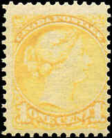 1870-93 Mint NH Canada F Scott #35 1c Small Queen Issue Stamp