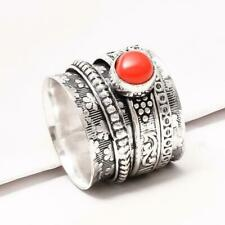 RED CORAL MEDITATION SPIN SPINNER .925 SILVER HANDMADE RING 9.50""