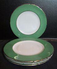 "Swansea Bone China 4 Plates Green Border Gold Trim Made in England 8 7/8"" Across"