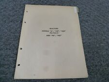 John Deere A An Aw Ar Ao Not Styled Tractor Parts Catalog Manual