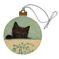 Black Kitten Cat in Bucket Tin Pail Wood Christmas Tree Holiday Ornament