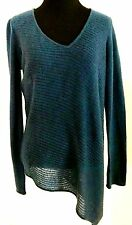 Christopher Fischer Womens 100% Cashmere Asymmetrical Sweater|Tunic Teal Size M