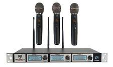 Rockville RWM-3US triple sistema de micrófono inalámbrico UHF 3 con frecuencia ajustable