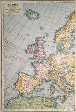 Vintage Antique Original 1920 Map Of General Europe Railways,Canals,SteamShips