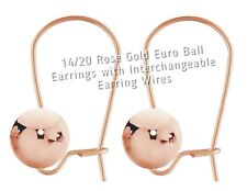 Rose Gold Euro Ball Earrings 14k Gold Filled with Interchangeable Earring Wires