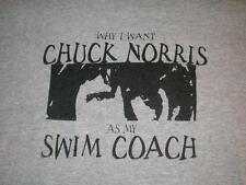 Why I want Chuck Norris as my Swim Coach Gray Gildan T-shirt Men's Large used