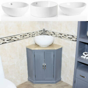 Grey Painted Bathroom vanity Unit Corner Cabinet Travertine Top & Ceramic Basin