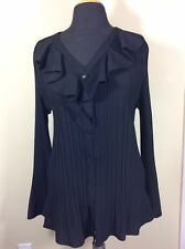 East 5th Women��s Black Ruffle Front Pleated Button Down Blouse, Size 1X.