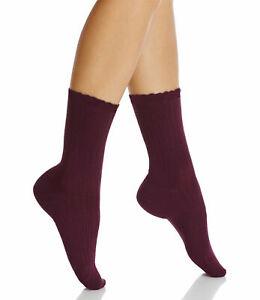 Hue Women's Scalloped Pointelle Socks, Deep Burgundy, One Size