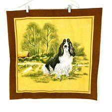 Vintage Basset Hound Dog Tea Kitchen Towel Linen Fabric Tapestry Grumpy Farm Dog
