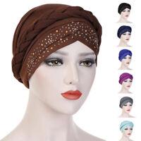 India Women Lady Muslim Braid Head Hijab Turban Wrap Cover Cancer Chemo Cap Hat