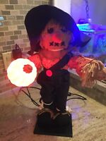 """Vintage 1989 Halloween Animated Electric 19"""" Scarecrow w/Lighted Ultra Pumpkin"""