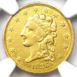 1836 Classic Gold Quarter Eagle $2.50 - Certified NGC VF Details - Rare Coin!