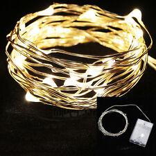 3M/10FT 30 Led Battery Power Copper Wire Fairy Light String Lamp Warm White Ball