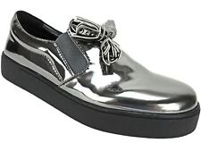 Nine West Women's Position Embellished Flat Sneakers Pewter Patent Size 6.5 M