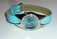Watch Out Ladies Fashion Watch LED Date Function & Blue & White Diamante stones