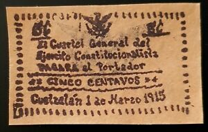 M3510 5 Centavos 1915 CUETZALAN México Cuartel General Ejército Const. Nice!