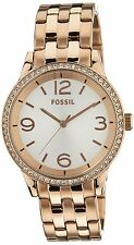 BRAND NEW FOSSIL BQ1759 AINSLEY ROSE GOLD STEEL GLITZ SILVER DIAL WOMEN'S WATCH