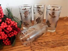 Silver Leaf Frosted Glass VTG 1950s Libbey Beverage Serving Tumblers Set of 4