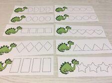 Dinosaur - Shapes Tracing - Laminated Activity Set - Teaching Supplies