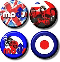 """set of 4 x THE JAM/ MOD/ NEW WAVE/ 1""""/ 25 mm BUTTON BADGEs"""