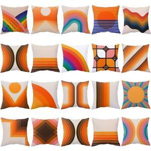 Polyester Retro Rainbow Tunnel Pattern Pillow Case Sofa Cushion Cover Home Decor