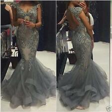 Mermaid Dress Beaded Applique Open Back Prom Formal Evening Party Celebrity Gown