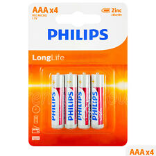 4 x Philips LongLife AAA batteries Zinc Chloride 1.5V R03 LR03 MX2400 Pack of 4
