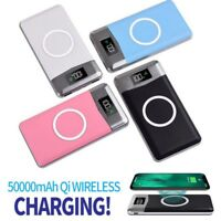 50000mAh Power Bank Qi Wireless Charging 2 USB Port LCD LED Portable Charger