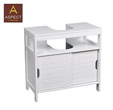 ASPECT Ashmore Bathroom Under Sink Storage Cabinet, Wood, White