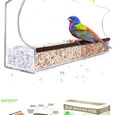 New listing Deluxe Clear Window Bird Feeder, Large Wild Birdfeeder with Drain Holes, Remo.