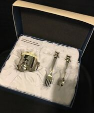 👣Things Remembered Silver Baby Set: Teddy Bear Cup and Fork & Spoon! B/N!!