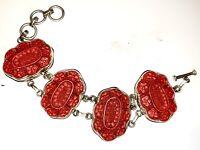 Vintage 925 Sterling Silver Chunky Hand Carved Flower Cinnabar Link Bracelet